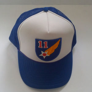 blue mesh snapback  hat army air force style patch